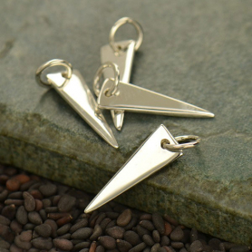 Sterling Silver Long Triangle Charm -20mm