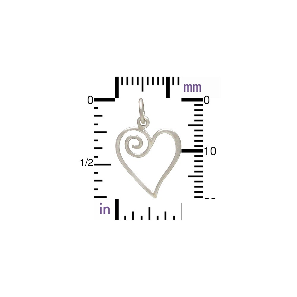 Sterling Silver Open Heart Charm with Swirl 21x13mm