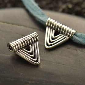 Sterling Silver Bead - Bali Triangle Wire Bead 10x10mm