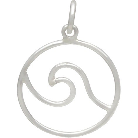 Sterling Silver Wire Wave Pendant 21x15mm