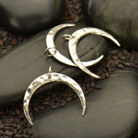 Sterling Silver Hammered Crescent Moon Pendant 21x24mm