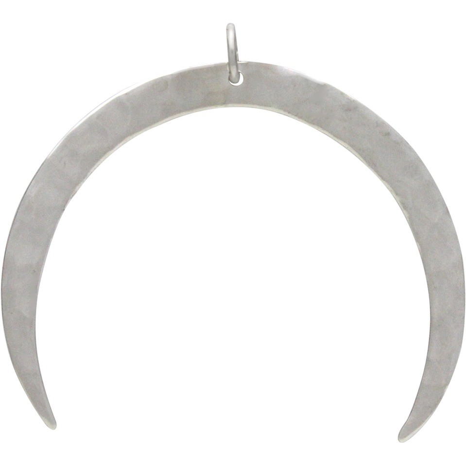 Sterling Silver Hammered Crescent Moon Pendant 37x41mm