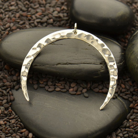 Sterling Silver Hammered Crescent Moon Pendant - 37mm