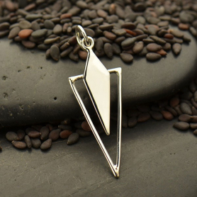 Sterling Silver Geometric Diamond Charm with Triangle30x10mm