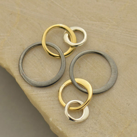 Jewelry Part - Sm Three Graduated Circles Mixed Metal Links