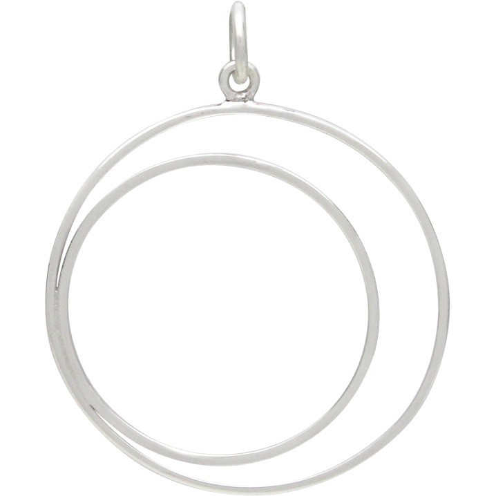Sterling Silver Wire Crescent in Circle Pendant