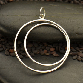 Sterling Silver Wire Crescent in Circle Pendant 31x25mm