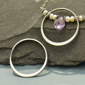 Jewelry Supplies - Circle Frame with Holes Silver Links