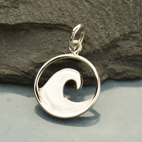 Sterling Silver Flat Plate Wave Charm
