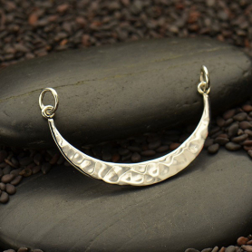 Jewelry Supplies - Hammered Crescent Festoon Silver Pendant