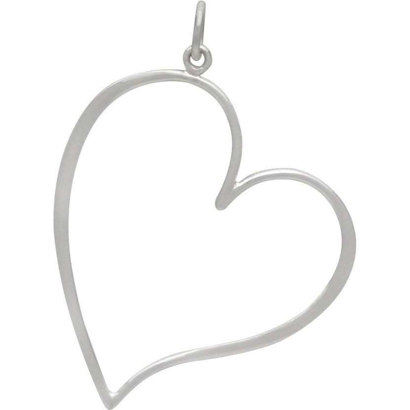 Sterling Silver Large Open Heart Pendant 37x27mm