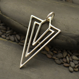Sterling Silver Art Deco Diamond Wire Charm