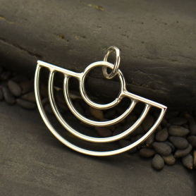 Sterling Silver Art Deco Scallop Wire Charm 18x22mm