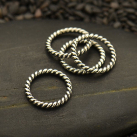 Small Sterling Silver Twisted Wire Circle Link 12x12mm
