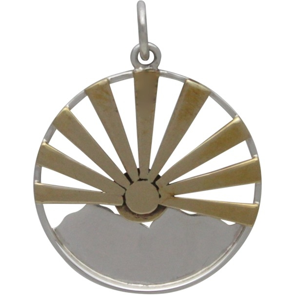 Silver Mountain Range Pendant with Bronze Sun Rays 26x20mm