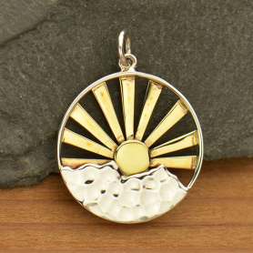 Sterling Silver Mountain Range Pendant with Bronze Sun Rays