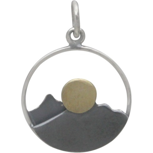 Silver Mountain Range Pendant with Bronze Sun 21x15mm