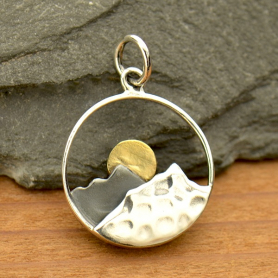 Sterling Silver Mountain Range Pendant with Bronze Sun