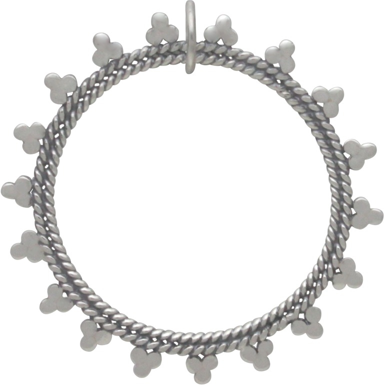 Sterling Silver Open Mandala Pendant - Sun Charm 15x2mm