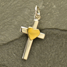 Sterling Silver Cross Charm with Bronze Heart 22x10mm