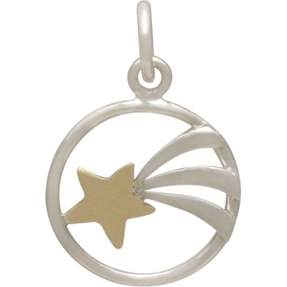 Sterling Silver Shooting Star Charm with Bronze Star 18x12mm