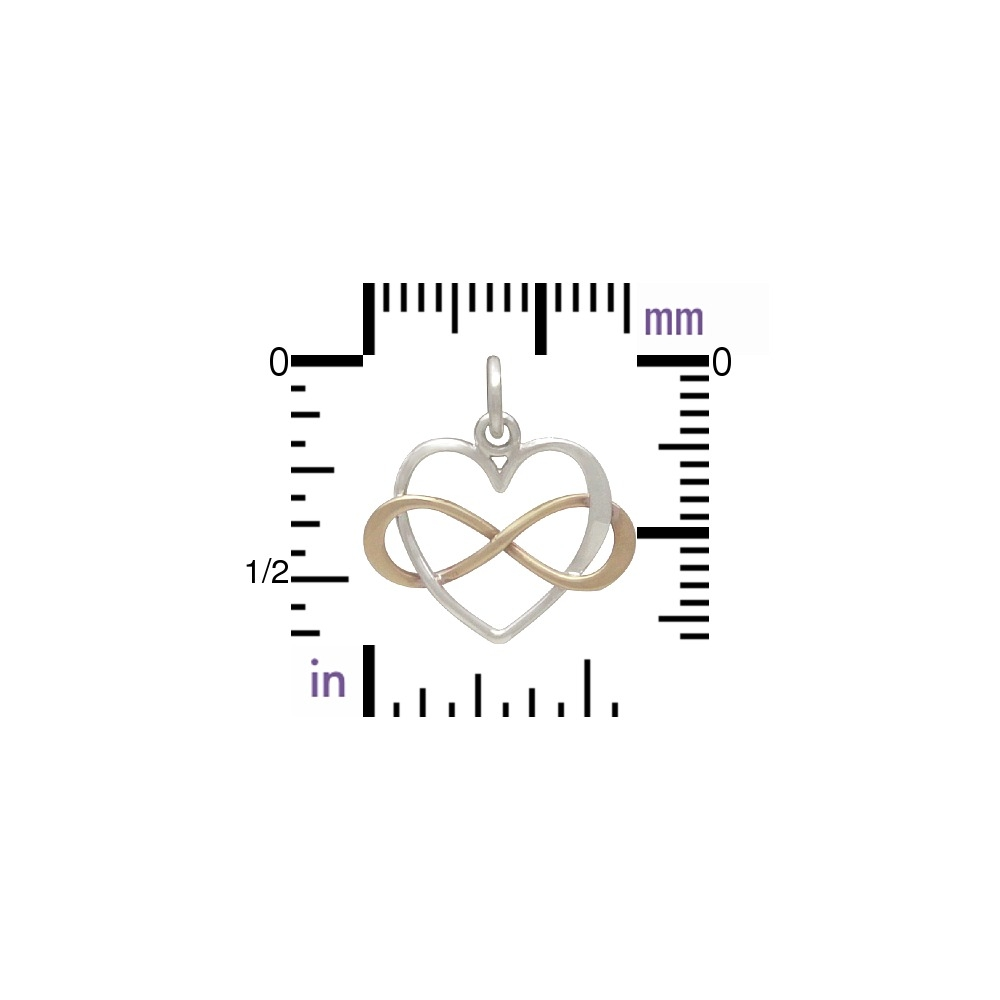Sterling Silver Infinity Heart Charm with Bronze Infinity