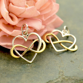 Silver Infinity Heart Charm with Bronze Infinity 18x16mm