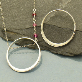 Jewelry Supplies - Lg Sterling Silver Circle Frame with Hole
