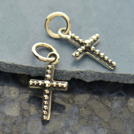 Sterling Silver Cross Charm with Granulation Detail