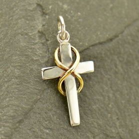 Sterling Silver Cross Charm with Bronze Infinity 21x10mm