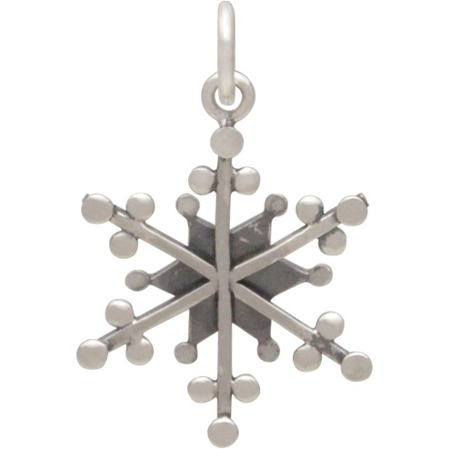 Silver Snowflake Charm with Wire and Granulation 23x14mm