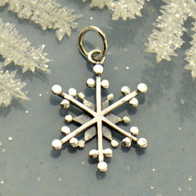 Sterling Silver Snowflake Charm with Wire and Granulation