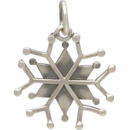 Silver Snowflake Charm with Wire and Granulation 21x15mm