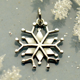 Lg Sterling Silver Snowflake Charm with Wire and Granulation