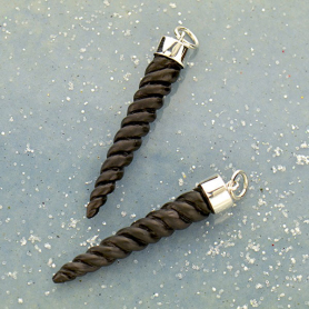 Hand Carved Black Wood Small Unicorn Horn Pendant 39x6mm