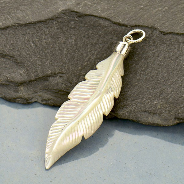 Hand Carved Mother Of Pearl Feather Pendant 44x11mm Product Details Nina Designs