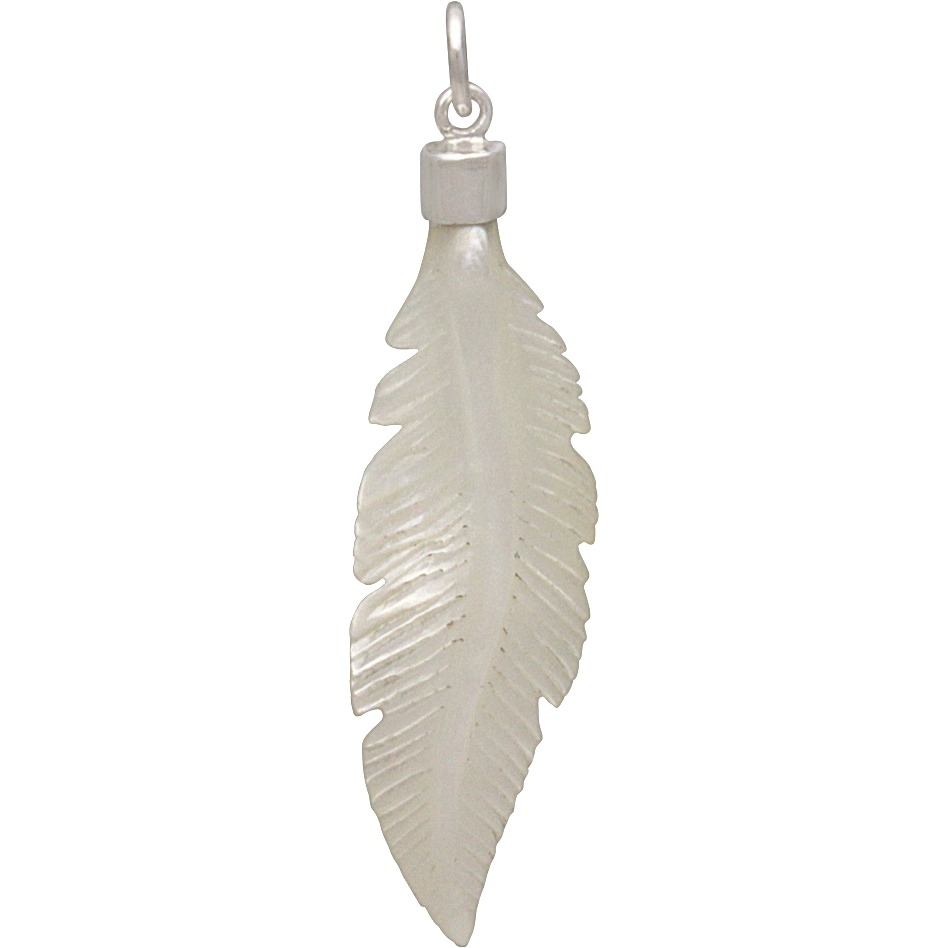 Hand Carved Mother of Pearl Feather Pendant 44x11mm