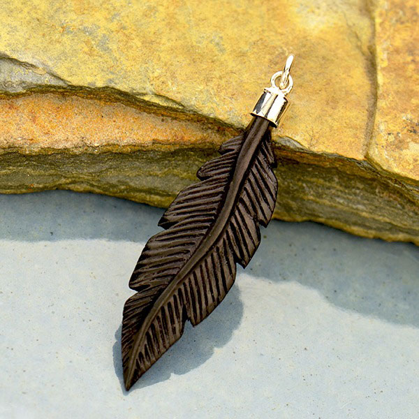 Hand Carved Black Wood Feather Pendant 40x10mm Product Details Nina Designs
