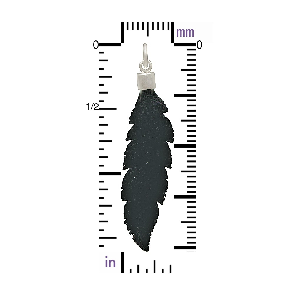 Hand Carved Black Wood Feather Pendant 40x10mm