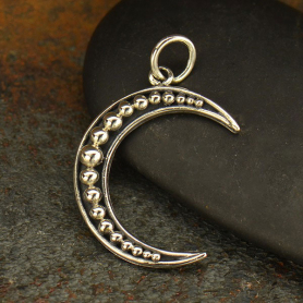 Sterling Silver Moon Charm - Crescent Moon with Granulation