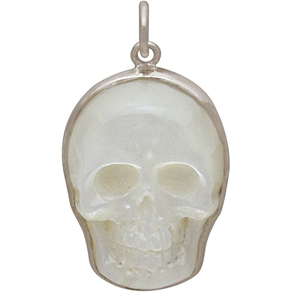 Hand Carved Mother of Pearl Skull Pendant 26x15mm