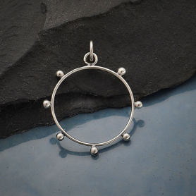 Sterling Silver Circle Pendant with Granulation
