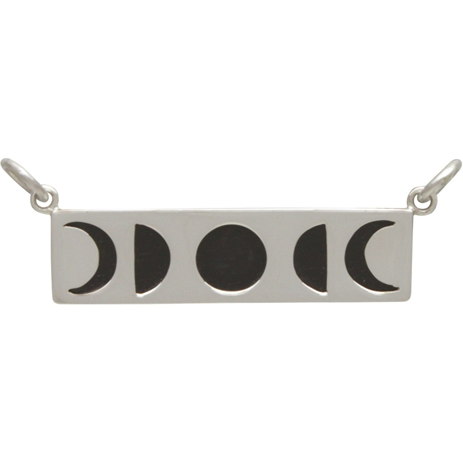 Sterling Silver Moon Phase Festoon over Black Wood 12x30mm