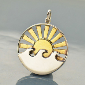 Sterling Silver Wave Pendant with Bronze Sun Rays 26x20mm