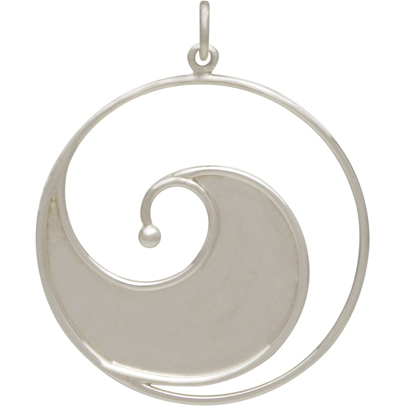 Large Sterling Silver Ocean Wave Pendant 35x28mm