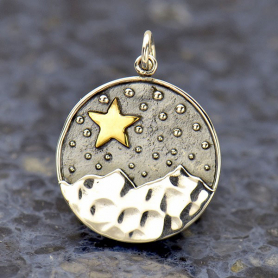 Sterling Silver Mountain Pendant with Bronze Star 24x18mm