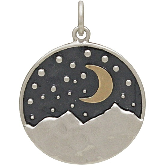 Sterling Silver Mountain Pendant with Bronze Moon 24x18mm