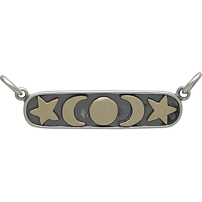 Sterling Silver and Bronze Moon Star and Sun Festoon 10x31mm