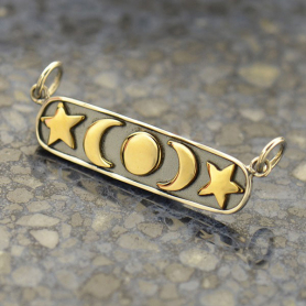 Sterling Silver and Bronze Moon, Star and Sun Festoon