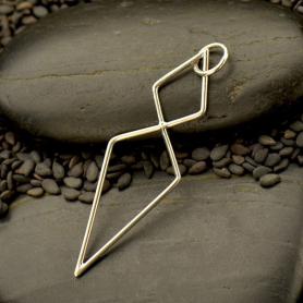 Jewelry Supplies - Silver Geometric Double Diamond Link